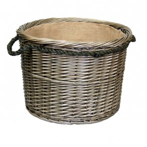 Extra large antique wash willow log basket