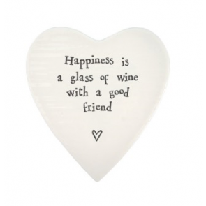 Glass of wine with friends porcelain heart coaster