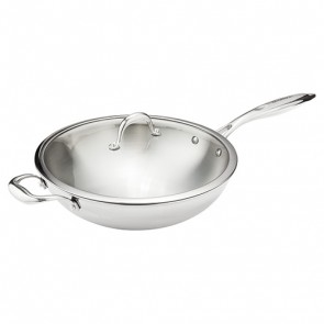 Horwood Tri-Ply Wok with Glass Lid
