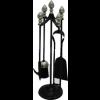 Black & Satin Nickel Companion Set - Acorn Top