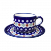 Cranberry Polish Pottery Cup & Saucer