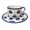 Blueberry Polish Pottery Tea Cup & Saucer in Blueberry
