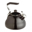Black viterous enamelled whistling kettle - suitable for gas and electric hob (inc. induction)