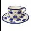 Boleslawiec Polish Pottery Tea Cup & Saucer in Blueberry