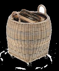 Dixneuf Farol Log Holder - Natural Rattan on Castor Base