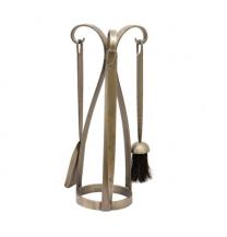 Contemporary Antique Pewter Fire Companion Set