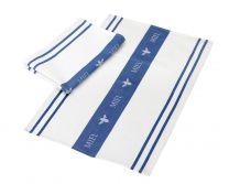 Miel Waffle Tea Towel in White & Blue