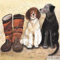 Alex Clark Waiting Print 300mm x 300mm - Working Dogs & Boots