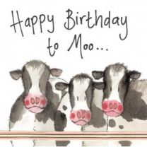 Alex Clark Happy Birthday To Moo Large Sparkle Card