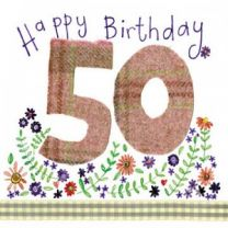Alex Clark Happy 50th Birthday Large Sparkle Card