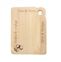 Small Bar Board in Hevea - Gin & Tonic, Whiskey & Soda, Vodka & Orange
