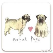 Perfect Pugs drink coaster by Alex Clark - Pug Dogs