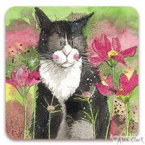 Wordsworth Cat drinks coaster by Alex Clark