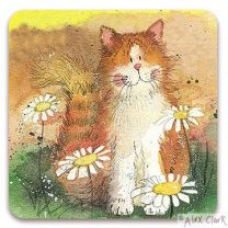 Cat & Daisies drinks coaster by Alex Clark