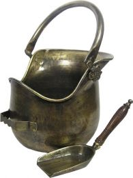 Antique Brass Plealey Coal Bucket & Shovel