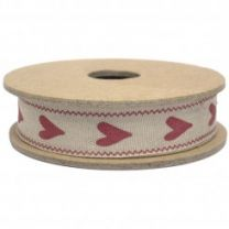 Long Red Heart Fabric Ribbon East of India