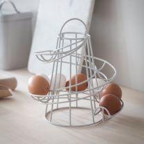 Powder coated steel egg run / egg holder in chalk finish
