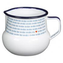 Enamel white & blue milk jug or creamer jug