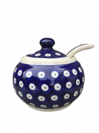 Polish Pottery Frogeye Sugar Bowl with Lid