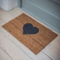 Coir Heart Small Doormat - 65cm x 40cm