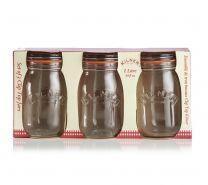 Kilner Set of 3 Clip Top Preserving Jar - 1 Litre Capacity