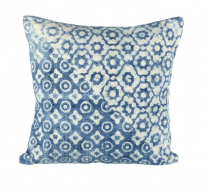 Lanka Cushion - blue & off white cotton cushion by Parlane