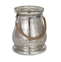 Antiqued Silver Glass & Rope Candle Lantern