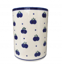 Large Polish Pottery Utensil Jar in Blueberry