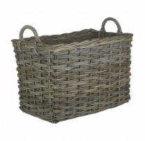 Large Rectangular Grey Log Basket