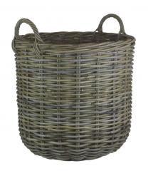 Large Grey Rattan Round Log Basket