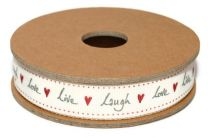 Live, Laugh, Love - gift ribbon 3 meter roll