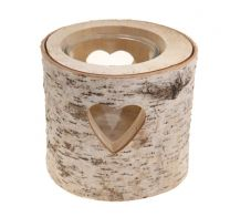Large Wooden Bark Tealight Holder with heart cut-out