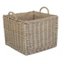 Large Square Lined Wicker Log Basket