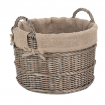 Round Washed Antique Willow Log Basket with Removable Lining
