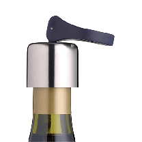 Flip top wine bottle stopper