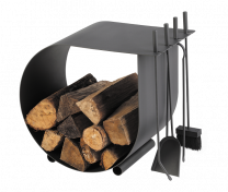 Dixneuf Caracol Log Holder & Firetool Set in black