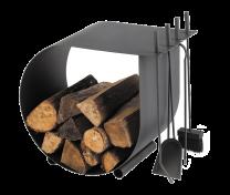 Dixneuf Caracol log holder & fire tool set in dark grey.