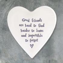 Porcelain Heart Coaster - Good Friends are Hard to Find