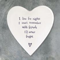 Porcelain Heart Coaster - Friends I'll Never Forget