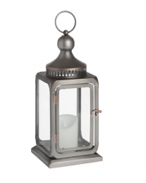 Antique bronze finish industrial lantern for candles