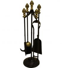 Black & Antique Acorn Top Companion Set