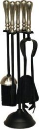 Calfire Black & Satin Nickel Traditional Top Round Base Companion Set small
