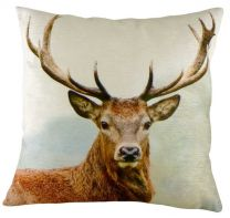 Stag's head velvet cushion - 43cm