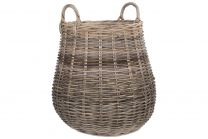 Willow Direct Pot Bellied Hessian Lined Rattan Log Basket 1