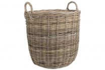 Willow Direct Large Hessian Lined Tall Round Rattan Log Basket