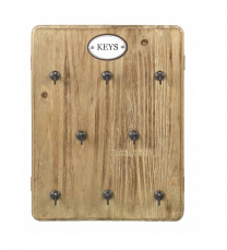 Parlane Wooden Key Holder with Metal Hooks