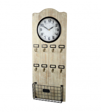 Vestibule Wall Clock with Key Hooks and Letter Rack