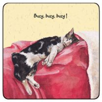 The Little Dog Busy Cat Coaster