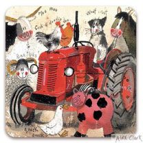 Big Red Tractor drinks coaster by Alex Clark