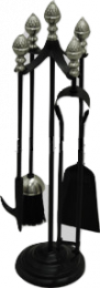 Black & Satin Nickel Acorn Top Companion Set